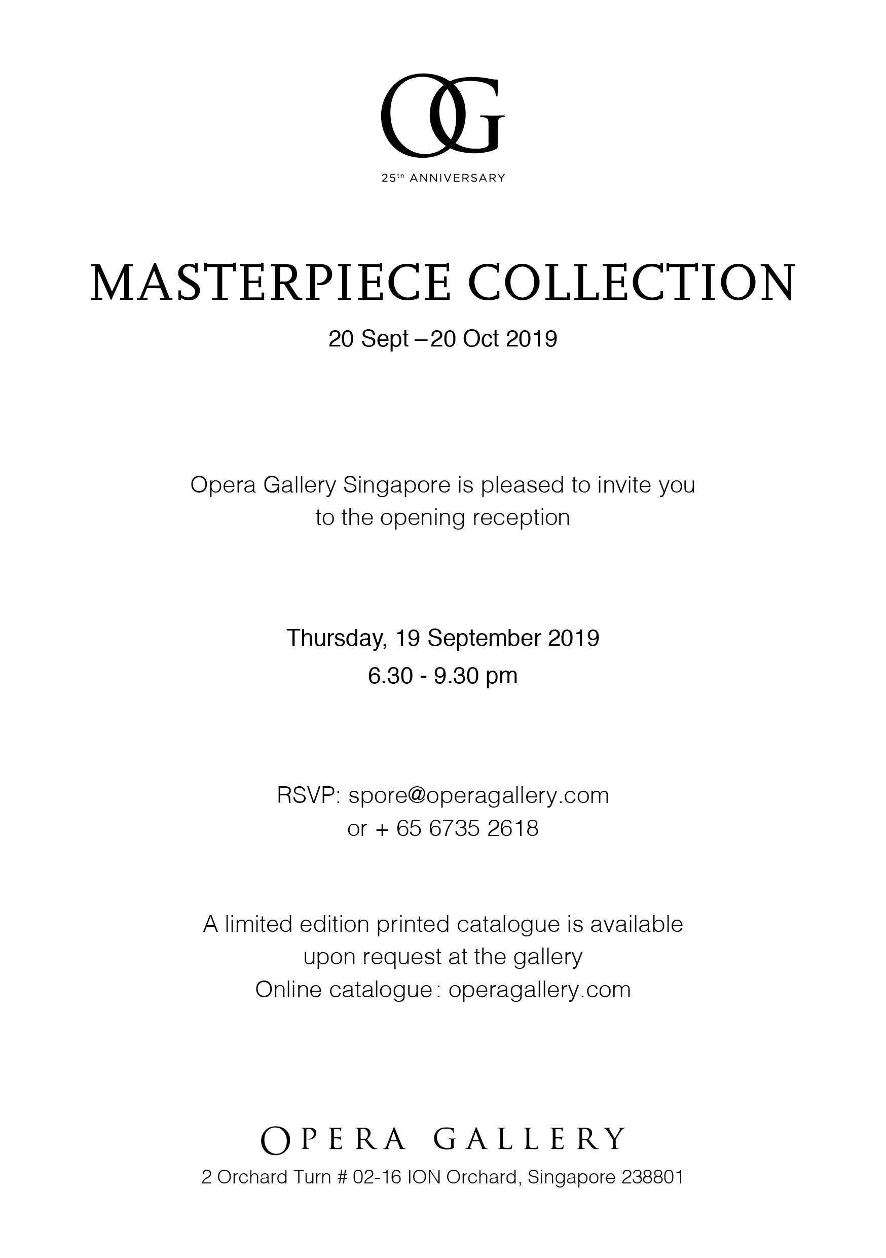 Opera Gallery Singapore Masters Exhibition 2019
